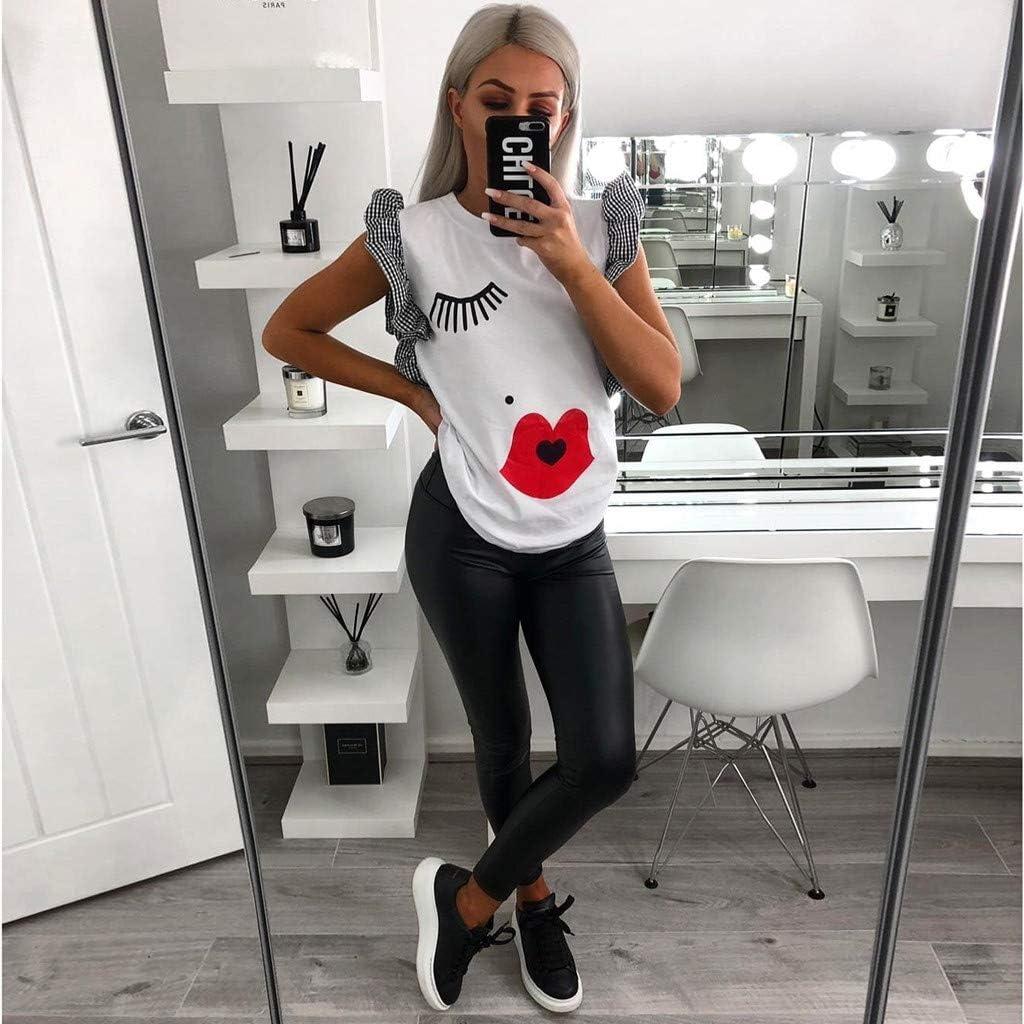 Pandaie Womens Tops Shirts Summer Casual Eyelash Kiss Print Butterfly Sleeve Ruffled O-Neck T-Shirt Tops
