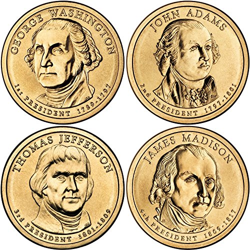 2007 D Complete Set of all 4 Presidential Dollars Uncirculated - Gold Washington Coin Set