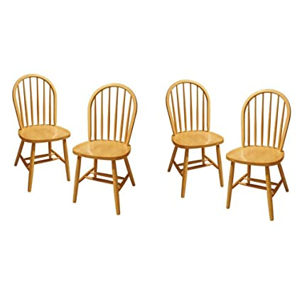 Beau Winsome Wood Windsor Chair, Natural, Set Of 4