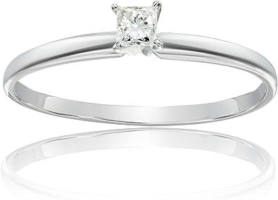 14k Gold Princess Cut Solitaire Engagement Ring 1 6 Carat I J Color I1 I2 Clarity Amazon Com