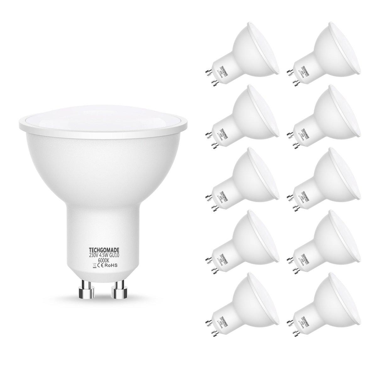 GU10 Techgomade Bombillas LED, Equivalente a Bombillas Haló genas de 50W, Luz Blanca 6000K, 4.5W, 450LM, 220-240V, No Regulable, Ahorro de energí a, 120 grados de iluminació n Equivalente a Bombillas Halógenas de 50W Ahorro de energía