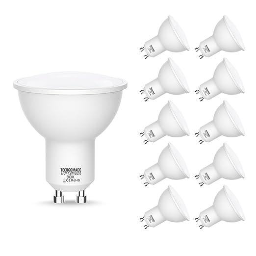 GU10 Techgomade Bombillas LED, Equivalente a Bombillas Halógenas de 50W, Luz Blanca 6000K,