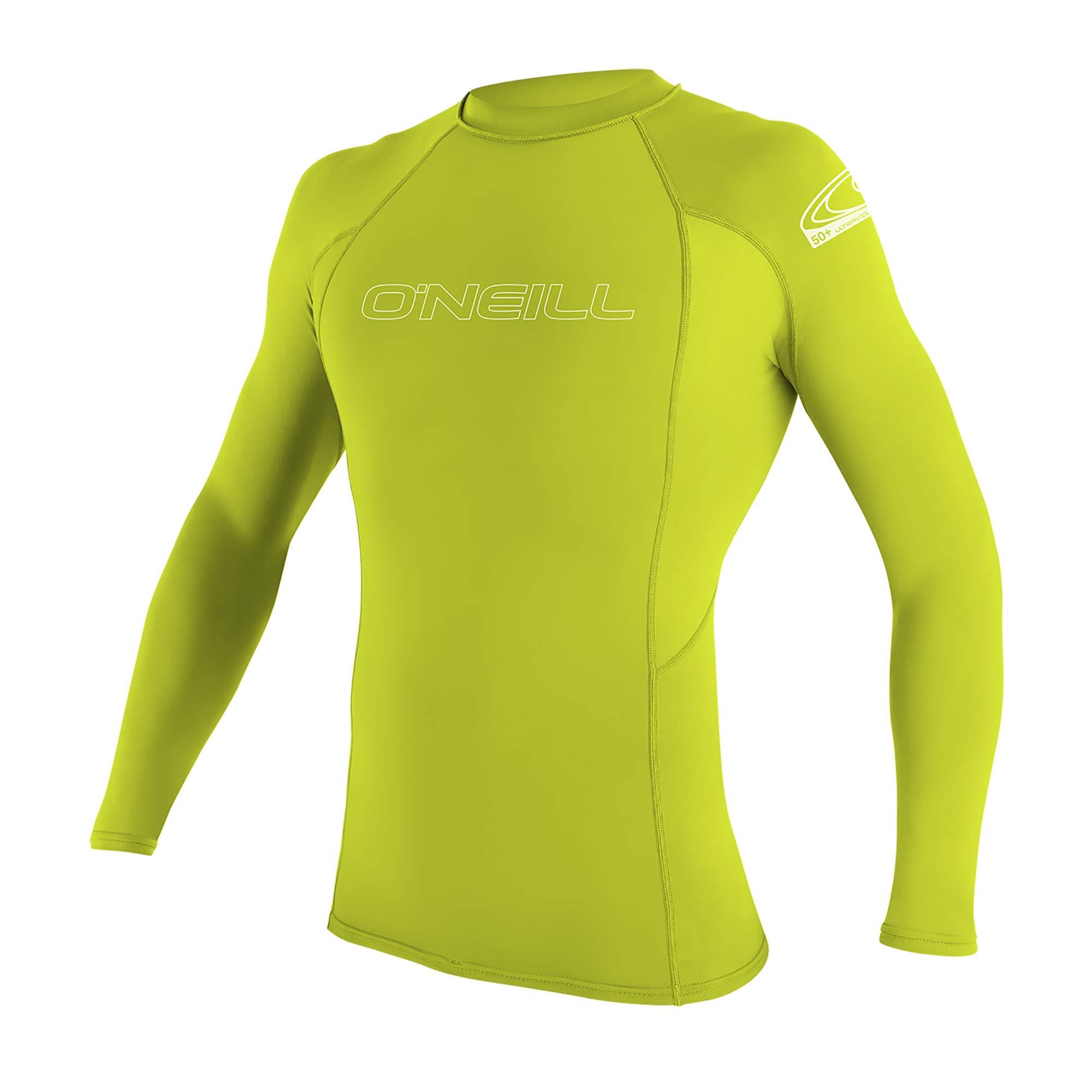 O'Neill Youth Basic Skins UPF 50+ Long Sleeve Rash Guard, Lime, 4