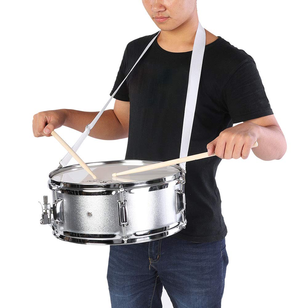 Stainless Steel Student Snare Drum Kit Set with Bag Drumstick Strap and Silencer Mute for Beginner 15.7 x 6inch Snare Drum