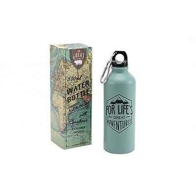 'Pour une excellente aventure' 500 ml en aluminium voyage Vert bouteille Mousqueton
