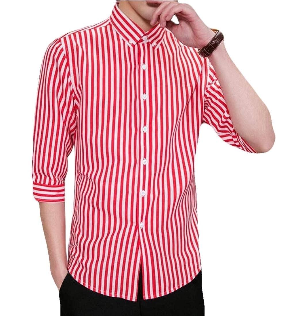 Smeiling Mens Fashion 3//4 Sleeve Stripe Slim Fit Button Down Dress Shirts