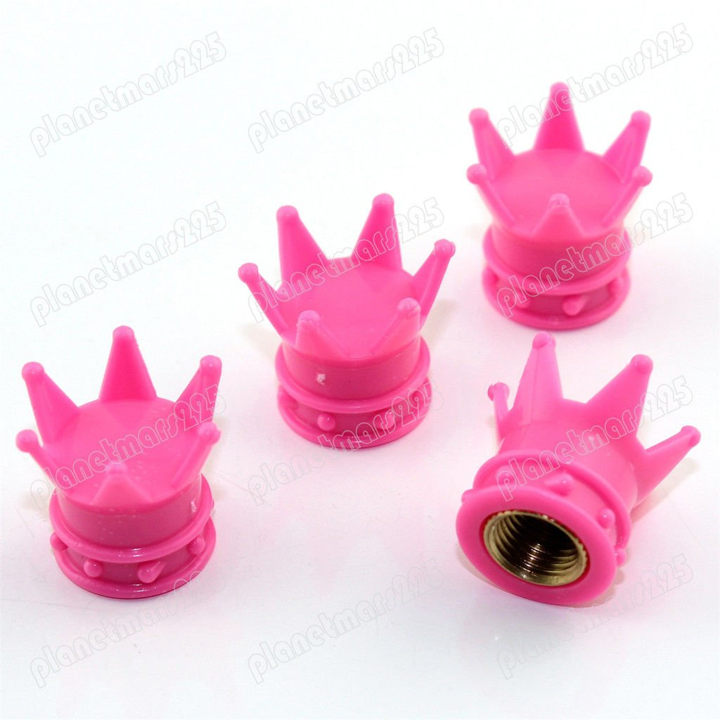 Global Accessories Tappi stelo valvola pneumatici corona rosa camion auto moto ATV cerchioni universali