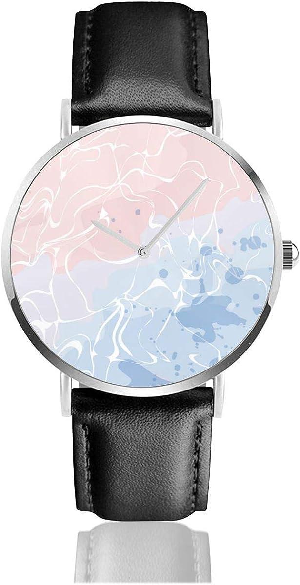 Textura de patrón de mármol con Colores Suaves Movimiento de Cuarzo Negro Relojes con Correa de Cuero Relojes de Pulsera de Moda Casual