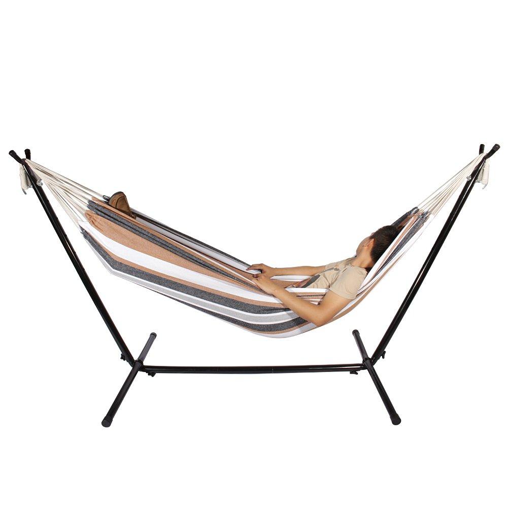 Hammock with Stand 2 Person Double Canvas Hammock Outdoor Garden Patio Swing Chair Hanging Camping Stand with Storage Bage for 2 Adults Up to 450 lbs 280 x 110 x 100 cm