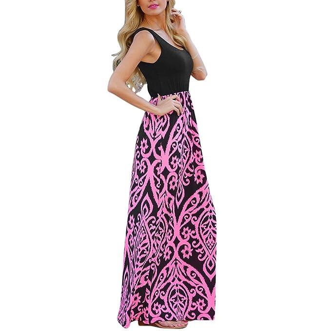 Vestido largo Mujeres Sin Mangas Flojo Vestido Maxi Cintura Alta Playa Casual Sundress Bohemian (2XL