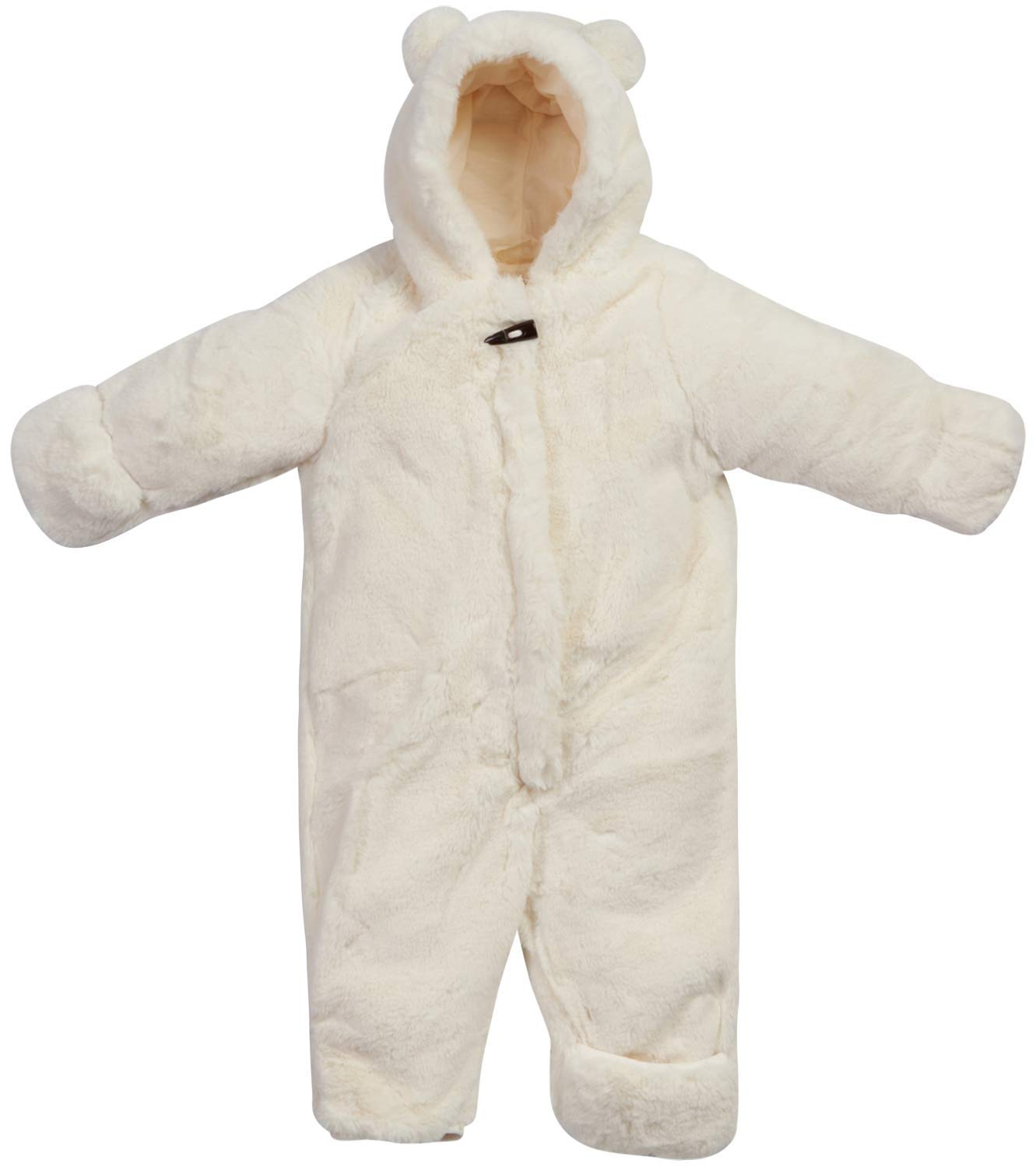 Jessica Simpson Baby Girls Warm and Fluffy Faux Fur Pram with Character Hood (Infant and Toddler), Size 6-9 Months, Ivory' by Jessica Simpson