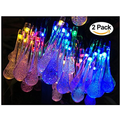 2 Pack Solar Strings Lights, Lemontec 20 Feet 30 LED Water Drop Solar Fairy Lights, Waterproof Lights for Garden, Patio, Yard, Home, Parties- Multi Color by Lemontec