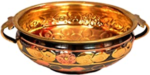 Decorative brass urli for home and office decoration table top utensil best for gift purpose traditional bowl round metal authentic & designer handcrafted flower pot (Multi, 12-Inch)