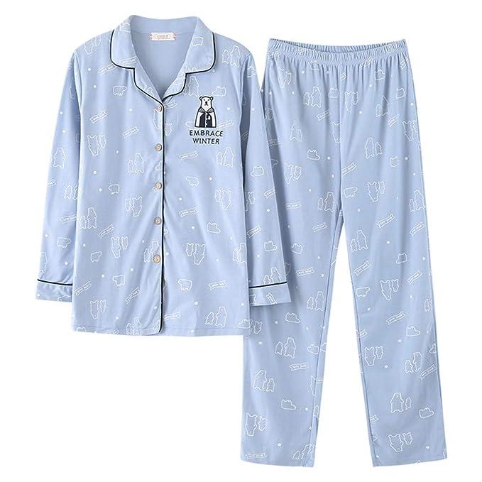 MEIXIA Batas De Baño Batas De Dormir Pijamas Loungewea Conjunto De Algodón De Primavera Y Otoño De Manga Larga para Mujer: Amazon.es: Ropa y accesorios