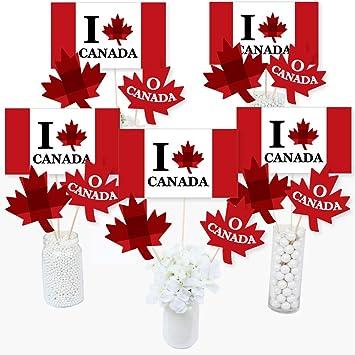 Canada Day - Juego de 15 palos de centro de mesa para fiestas canadienses: Amazon.es: Juguetes y juegos