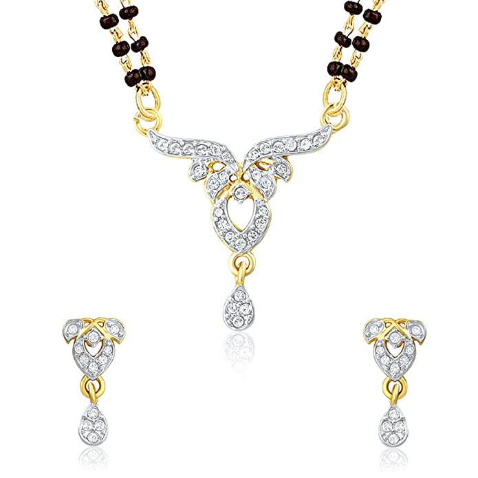 Mahi Gold Plated Pure Alliance Mangalsutra Set with CZ for Women NL1106006G2 Women's Jewellery Sets at amazon
