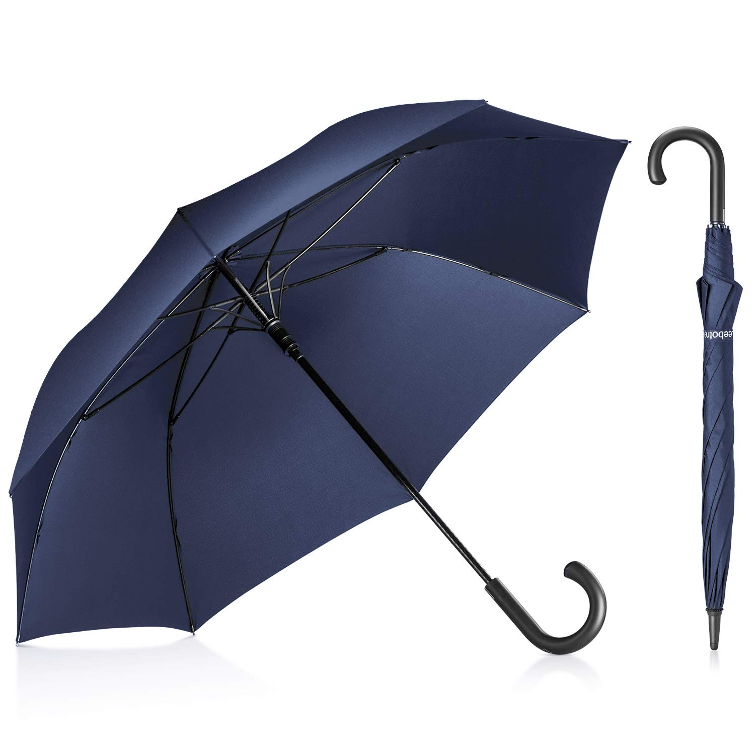 Leebotree Stick Umbrella, Auto Open Windproof Umbrella with 51 Inch Large Canopy Waterproof and J Handle for Men Women (Blue) by Leebotree
