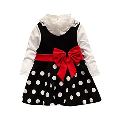 6d8a93fd96a1 Iuhan 2Pcs Toddler Baby Girl Winter Lace Shirt +Dot Bow Princess ...