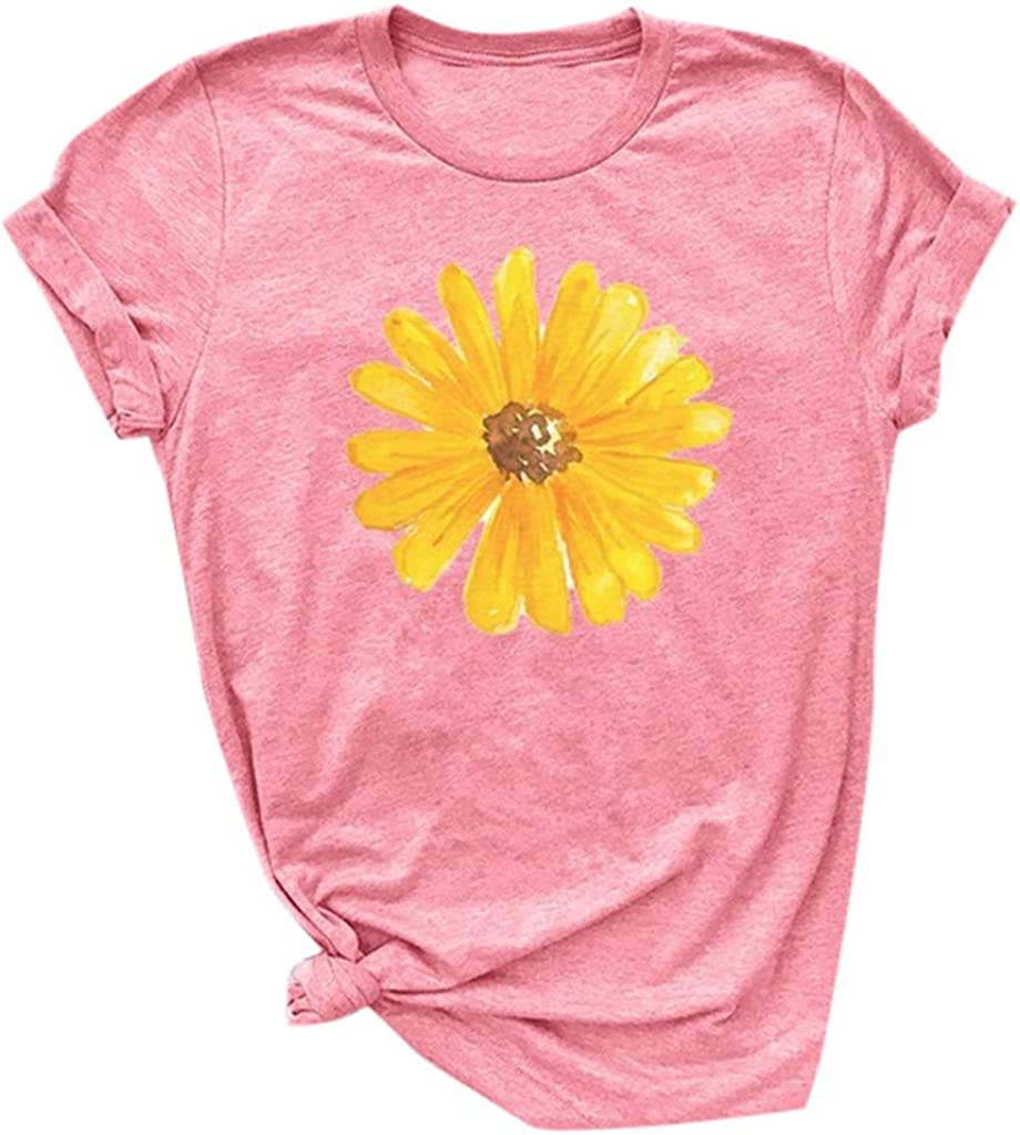 Womens Tops Womens Fashion T Shirt Sunflower Printed T Shirt Tops Short Sleeve Round Neck Tops Summer Casual