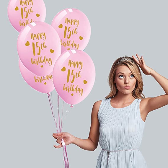 Amazon Pink 15th Birthday Latex Balloons 12inch 16pcs Girl Gold Happy Party Decorations Supplies Toys Games
