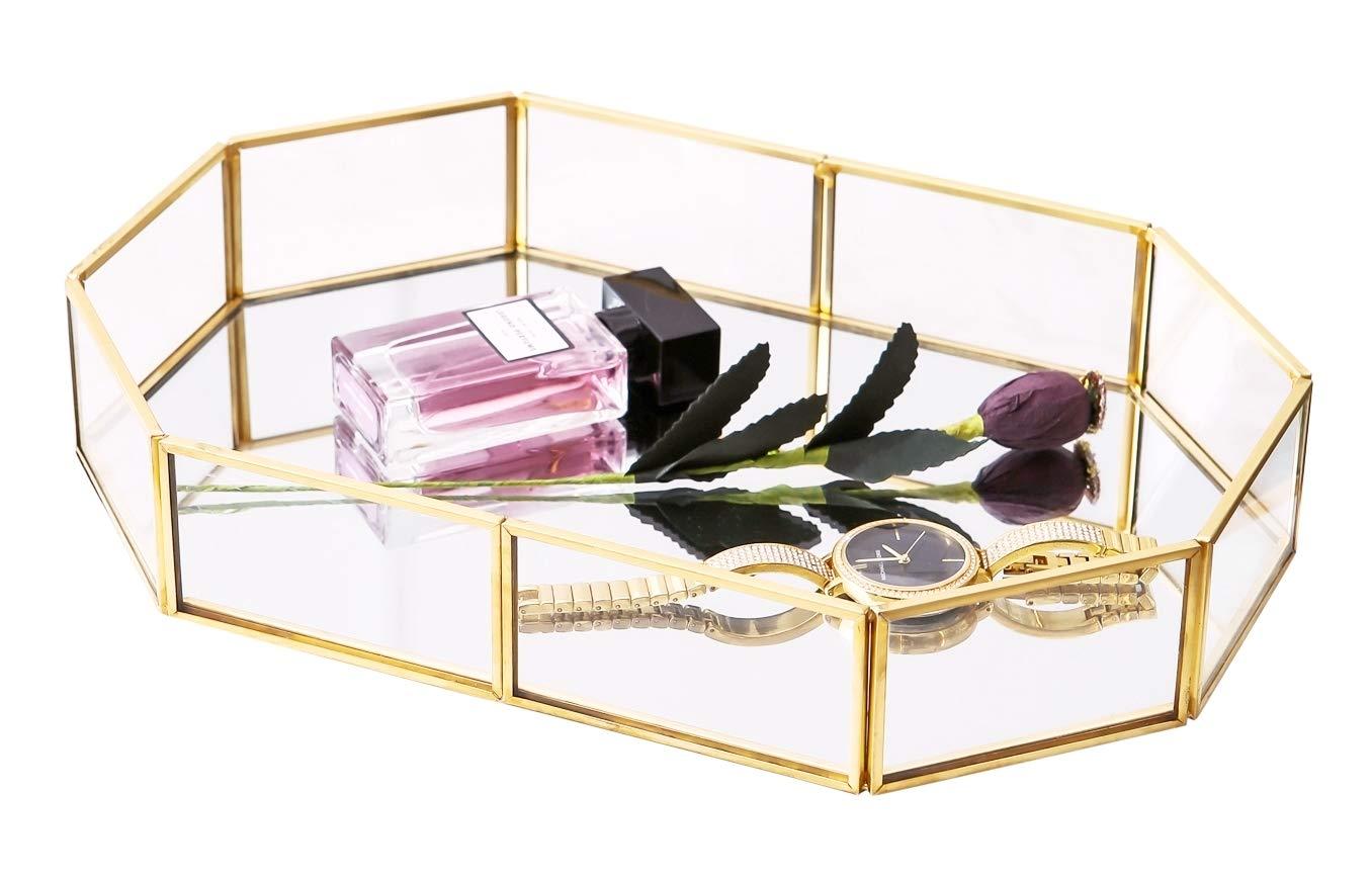 Vintage Glass Tray Countertop Holder Dresser Cosmetic Organizer Bathroom Dish Display Decorative Centerpiece Desktop Storage Organizer for Vanity Perfume Jewelry Trinket, Diamond