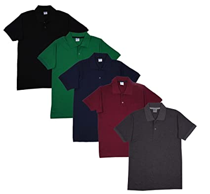 40b27d679605 FLEXIMAA Men's Cotton Polo Collar T-Shirts with Pocket Combo Pack (Pack of  5) -Black, Navy Blue, Green, Maroon & Charcoal Milange Color.