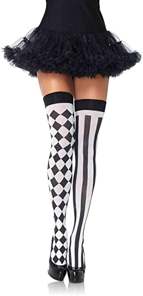 Leg Avenue Harlequin /& Heart Thigh High Stay//Hold Ups Stockings Fancy Dress O//S