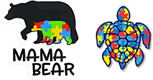 eDesign 2-Pack Autism Mama Bear 4-inch & Autism Puzzle Sea Turtle 3-inch Vinyl Decal Sticker for Car Truck Van SUV Window Wall Cup Tumblers Laptop