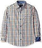 Nautica Little Boys' Jetsam Plaid Long Sleeve Woven Shirt, Ivory, Large/7