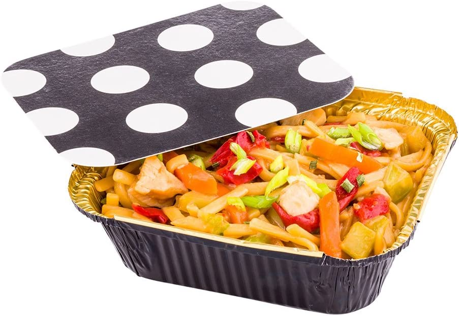 12 oz Rectangle Black and Gold Aluminum Take Out Container - Polka Dot Paper Lid - 5 3/4