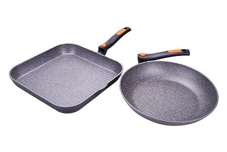 ALLUFLON - Sartén y Plancha Cuadrada (Piedra, Aluminio, 28 cm/28 cm