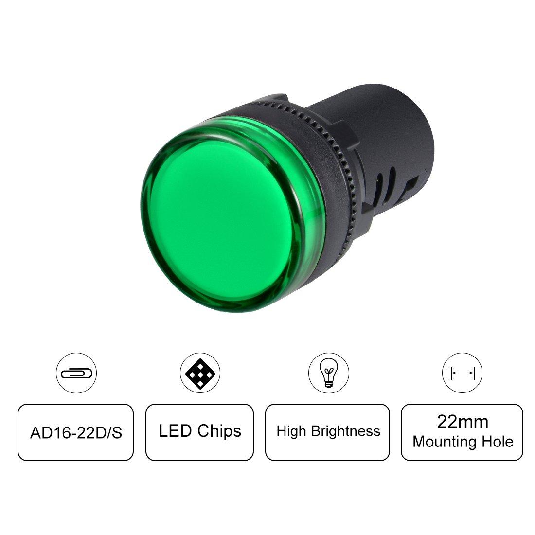 Flush Panel Mount 7//8 22mm Green LED sourcing map 10Pcs AC//DC 12V Indicator Lights