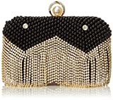 MG Collection Isolde Pearl Fringe Clutch, Black, One Size