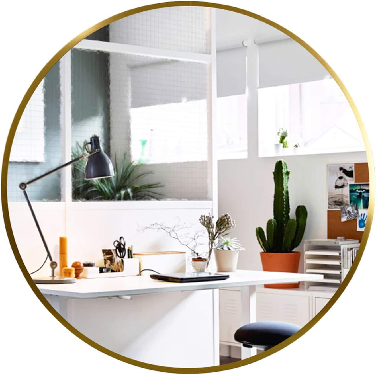 Amazon Com Elevens Wall Mirror Popular 20 Inch Round Wall Mounted Decorative Mirror Metal Frame Best For Vanity Washrooms Bathroom And Living Rooms Gold Furniture Decor