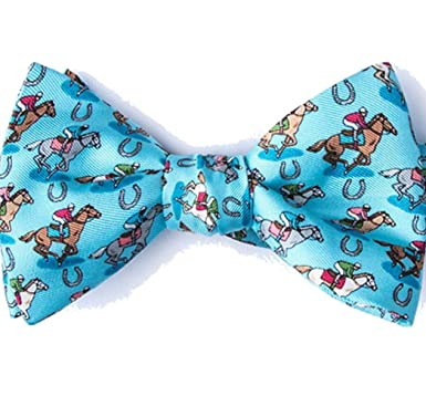 9900626b67c0 Men's 100% Silk Pony Up Horse Racing Kentucky Derby Day Butterfly Bow Tie  (Blue) at Amazon Men's Clothing store: