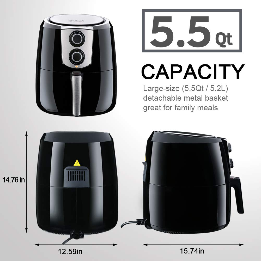 Electric Hot Air Fryers Extra Large Capacity 5.2 Liter / 5