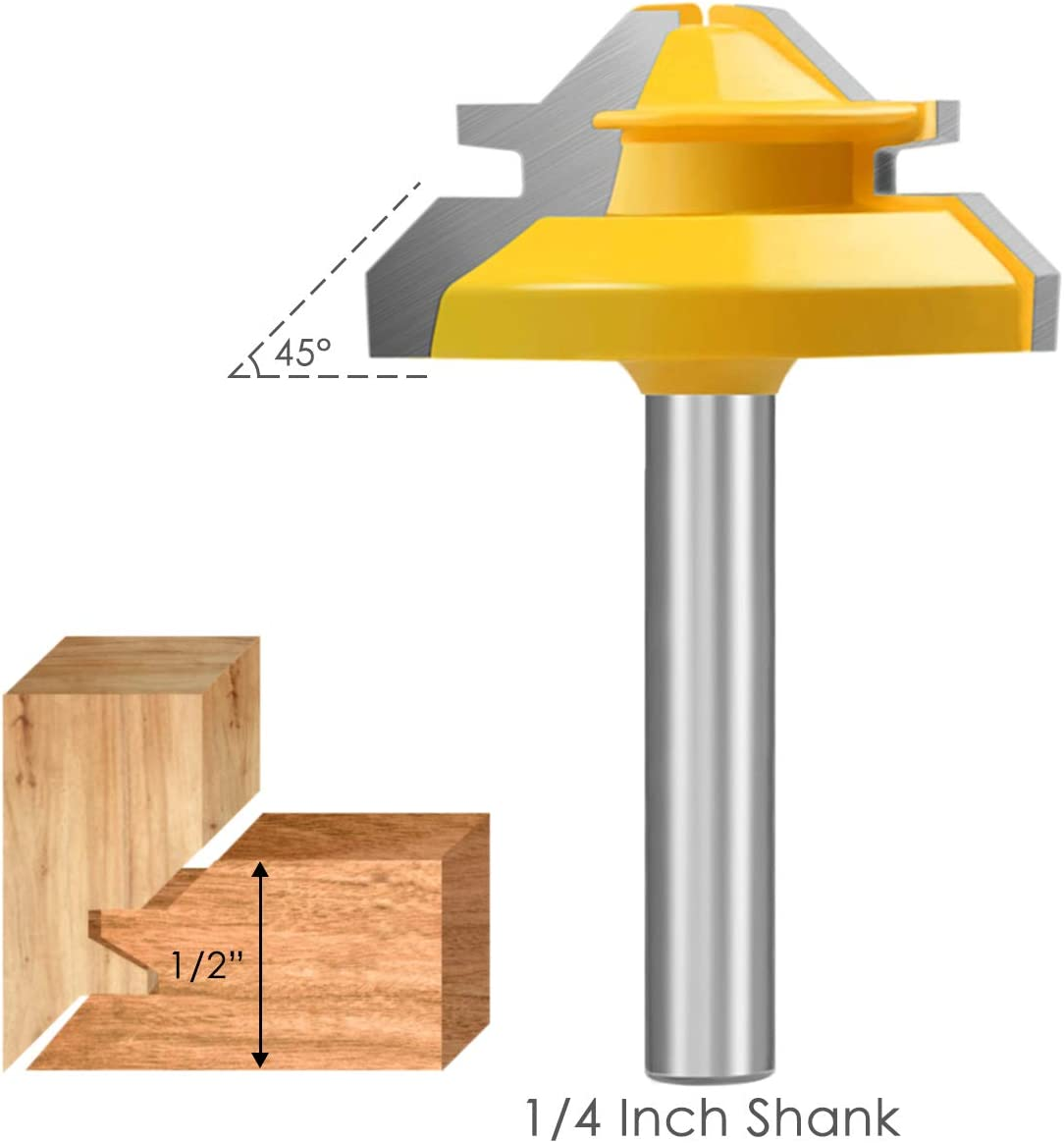 KOWOOD Router bit, 45 Degree Lock Miter Router Bit 1/4 Inch Shank, Professional Wood Cutting Tools,for Commercial Users and Beginners