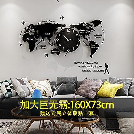 Y-Hui en el cuadro Reloj de cuarzo silenciosa Mapa del Mundo Relojes Salón Reloj de ...