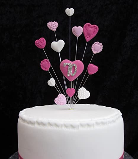 70th Birthday Cake Topper Pinks And White Hearts Ideal For A Small
