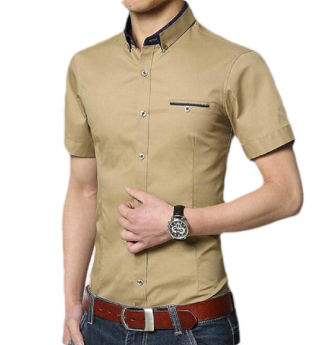 BYWX Men Button Up Slim Short Sleeve Cotton Business Dress Work Shirt