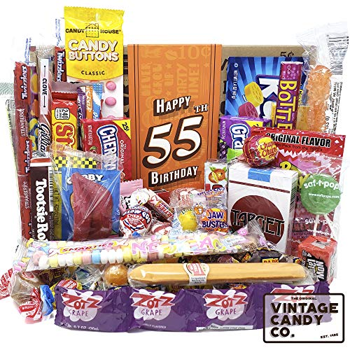VINTAGE CANDY CO. 55TH BIRTHDAY RETRO CANDY GIFT BOX - 1964 Decade Childhood Nostalgic Candies - Fun Funny Gag Gift Basket - Milestone 55 Birthday PERFECT For FIFTY FIVE Years Old Man | Woman]()