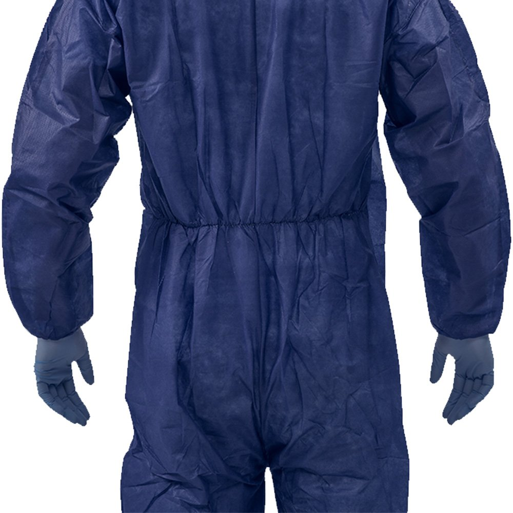 5 Pack Polypropylene PP Disposable Hooded Coveralls Light Duty Suit with Elastic Cuff Ankle and Waist (Large, Dark Blue) by Vicogard (Image #4)