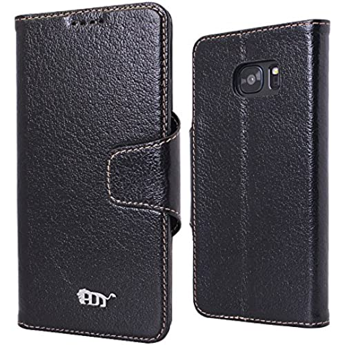 Pdncase Samsung S7 Edge Case Genuine Leather Cover Wallet Type Compatible for Samsung Galaxy S7 Edge - Black Sales