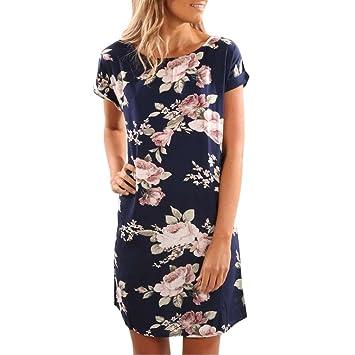 3a5a56c7c14 Janly Dress Woman s Summer Sundress Ladies Floral Printed Short Dress Boho  Holiday Beach Dresses (S