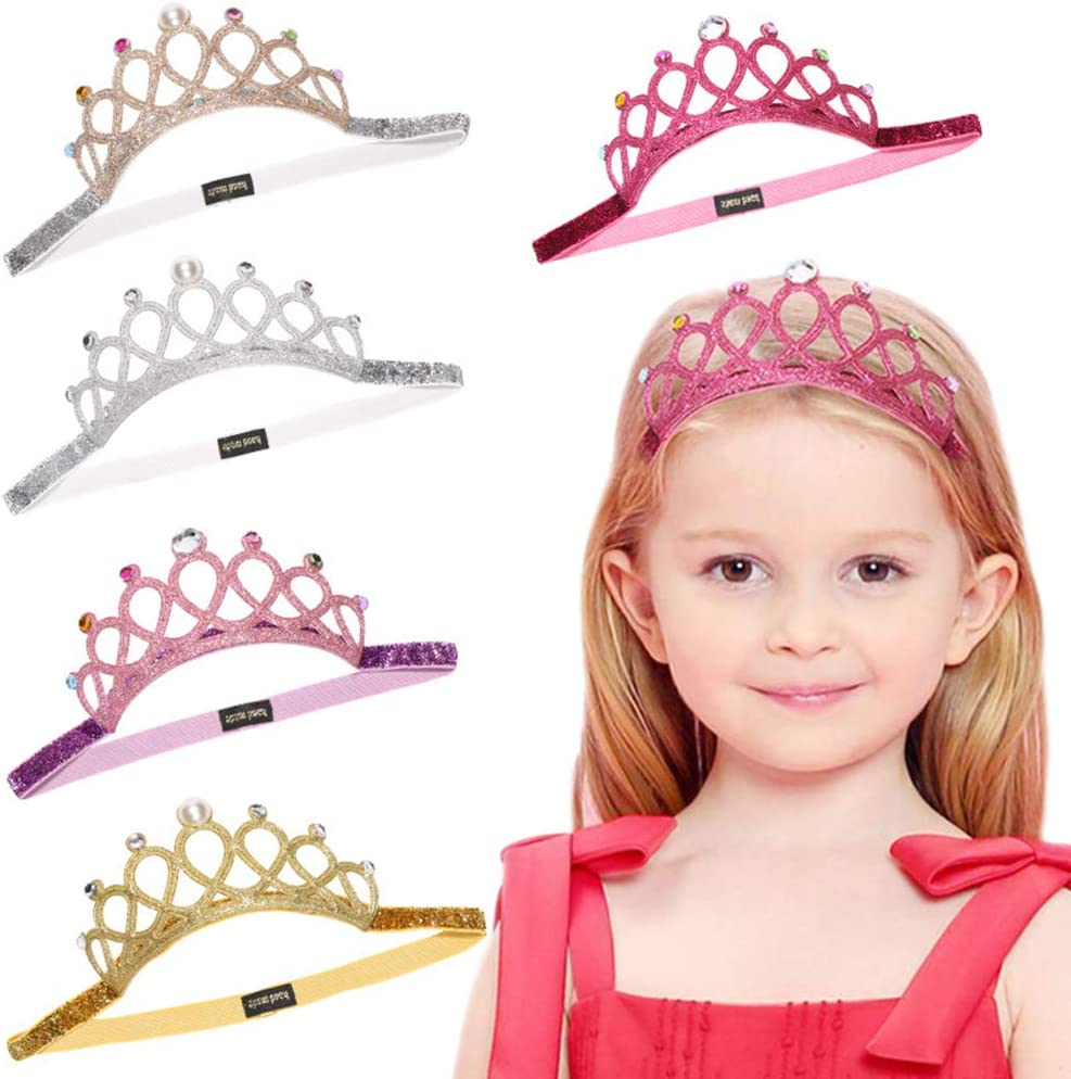 Princess Tiara Tiara Corona Fascia 5PCS Corona Principessa Elastica per Capelli Corona Fascia per Capelli per Bambini Bambine Compleanno Festa Accessories