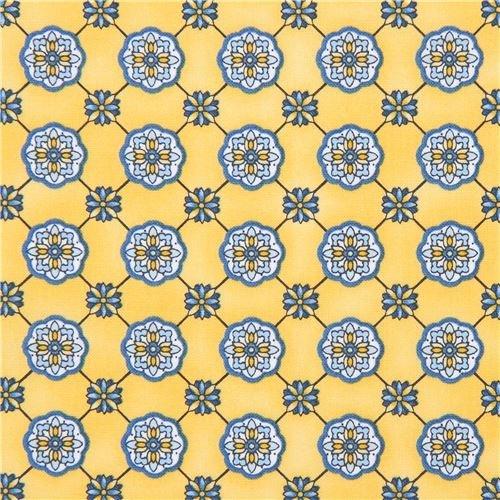 Light orange-yellow Robert Kaufman flower shape fabric LA Provence (per 0.5 yard unit) (Provence Border)