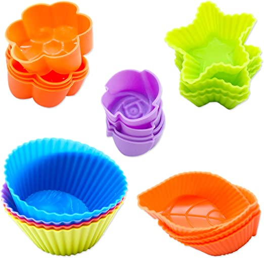 Muffin Cups Cake Molds Set of 12 Reusable Round Shaped Silicone Baking Cups Cupcake Liners