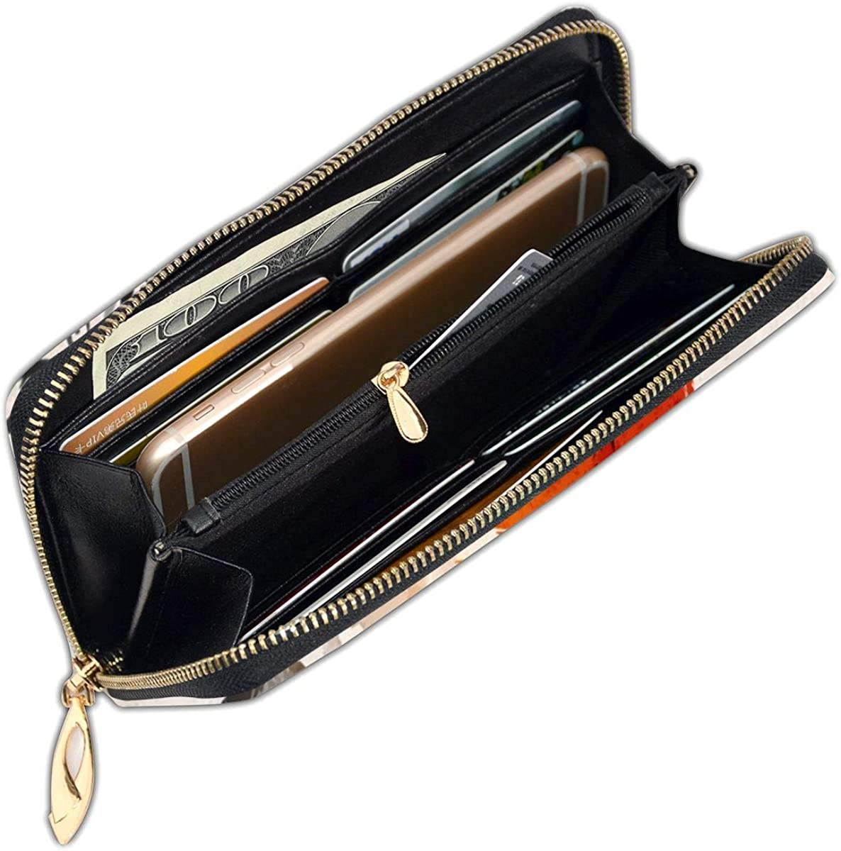 Bamboo Trees Sun And Mountains Womens RFID Blocking Zip Around Wallet Genuine Leather Clutch Long Card Holder Organizer Wallets Large Travel Purse