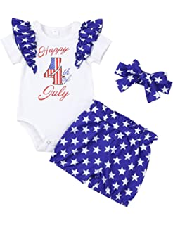 Flag Day Baby Romper 4th of July Clothes,Toddler Infant Boys Girls Sleeveless Solid Jumpsuit Playsuit 6-24 Month