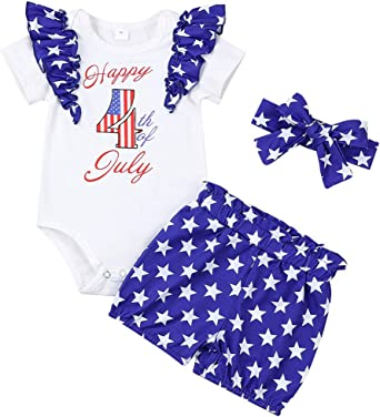 Infant Patriotic Fourth Of July Baby Girl Romper Newborn 6 Months Summer